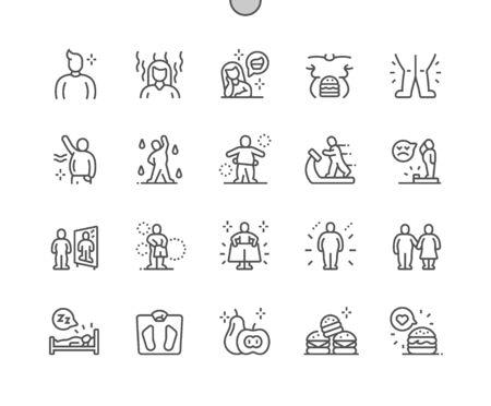 Sovrappeso Ben realizzato Pixel Vettore perfetto Linea sottile Icone 30 Griglia 2x per grafica Web e app. Pittogramma minimale semplice