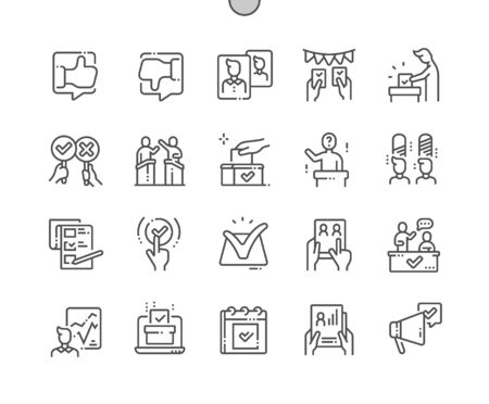 Voting Well-crafted Pixel Perfect Vector Thin Line Icons 30 2x Grid for Web Graphics and Apps. Simple Minimal Pictogram