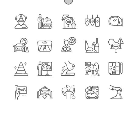 Driving School Well-crafted Pixel Perfect Vector Thin Line Icons 30 2x Grid for Web Graphics and Apps. Simple Minimal Pictogram