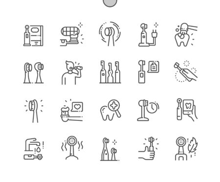 Electric Toothbrush Well-crafted Pixel Perfect Vector Thin Line Icons 30 2x Grid for Web Graphics and Apps. Simple Minimal Pictogram Illustration