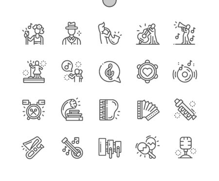 Jazz Well-crafted Pixel Perfect Vector Thin Line Icons 30 2x Grid for Web Graphics and Apps. Simple Minimal Pictogram