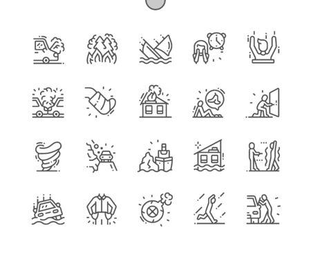 Forza maggiore Pixel ben congegnato Vettore perfetto Linea sottile Icone 30 Griglia 2x per grafica Web e app. Pittogramma minimale semplice