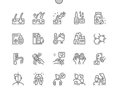 Haarausfall Gut gestaltete Pixel Perfect Vector Thin Line Icons 30 2x Raster für Webgrafiken und Apps. Einfaches minimales Piktogramm