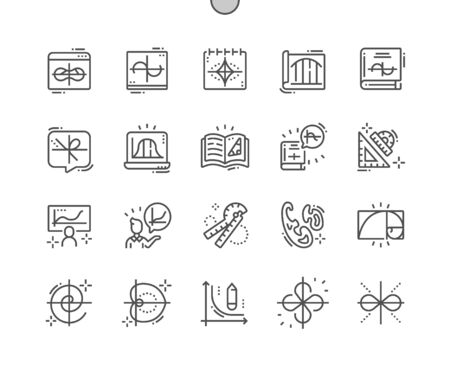 Mathematical Curves Well-crafted Pixel Perfect Vector Thin Line Icons 30 2x Grid for Web Graphics and Apps. Simple Minimal Pictogram