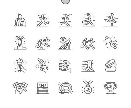 Staffellauf Gut gestaltete Pixel Perfect Vector Thin Line Icons 30 2x Raster für Webgrafiken und Apps. Einfaches minimales Piktogramm Vektorgrafik