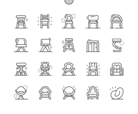 Types of Chairs Well-crafted Pixel Perfect Vector Thin Line Icons 30 2x Grid for Web Graphics and Apps. Simple Minimal Pictogram