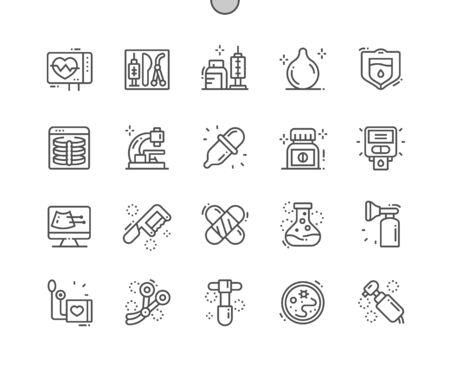 Instrumentos médicos Iconos de líneas finas de vector perfecto de píxeles bien diseñados Cuadrícula de 30 2x para gráficos y aplicaciones web. Pictograma mínimo simple