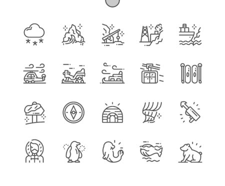 Arctic Well-crafted Pixel Perfect Vector Thin Line Icons 30 2x Grid for Web Graphics and Apps. Simple Minimal Pictogram