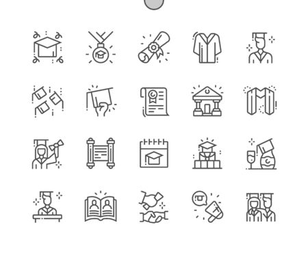 Graduation Day Well-crafted Pixel Perfect Vector Thin Line Icons 30 2x Grid for Web Graphics and Apps. Simple Minimal Pictogram
