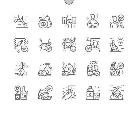 Gesundes Leben Gut gestaltete Pixel Perfect Vector Thin Line Icons 30 2x Raster für Webgrafiken und Apps. Einfaches minimales Piktogramm