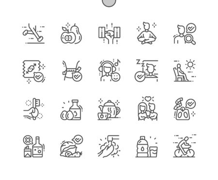 Vie saine Bien conçu Pixel Perfect Vector Thin Line Icons 30 Grille 2x pour les graphiques Web et les applications. Pictogramme minimal simple
