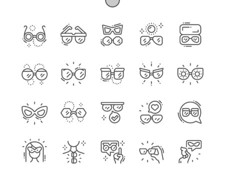 Sunglasses Well-crafted Pixel Perfect Vector Thin Line Icons 30 2x Grid for Web Graphics and Apps. Simple Minimal Pictogram 일러스트