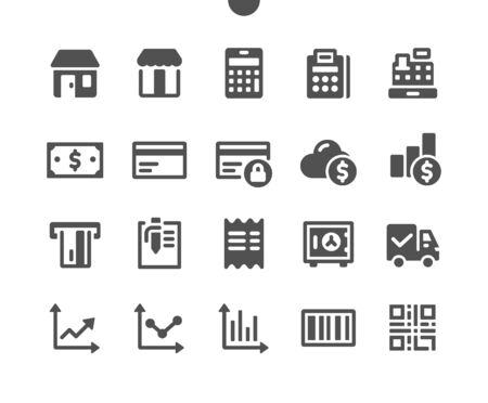 Shopping v1 UI Pixel Perfect Well-crafted Vector Solid Icons 48x48 Ready for 24x24 Grid for Web Graphics and Apps. Simple Minimal Pictogram Illusztráció