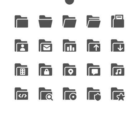 Folders v4 UI Pixel Perfect Well-crafted Vector Solid Icons 48x48 Ready for 24x24 Grid for Web Graphics and Apps. Simple Minimal Pictogram