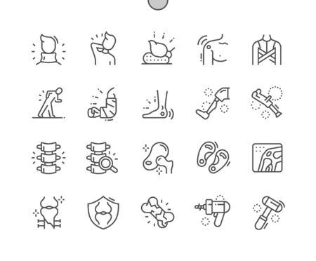 Ortopedia Pixel ben realizzato vettore perfetto sottile linea icone 30 2x griglia per grafica Web e app. Pittogramma minimale semplice