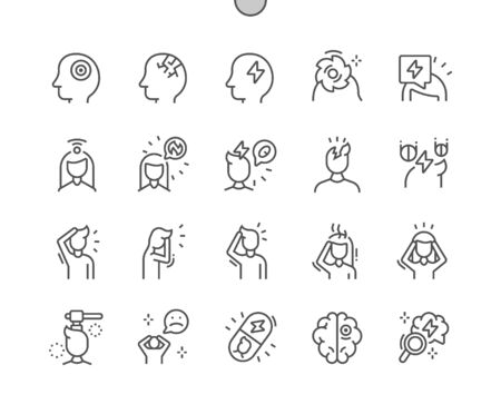 Headache Well-crafted Pixel Perfect Vector Thin Line Icons 30 2x Grid for Web Graphics and Apps. Simple Minimal Pictogram