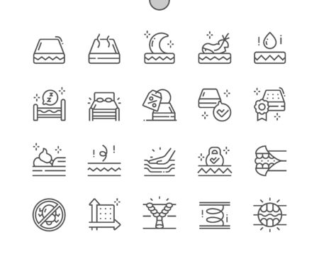 Mattress Well-crafted Pixel Perfect Vector Thin Line Icons 30 2x Grid for Web Graphics and Apps. Simple Minimal Pictogram 일러스트