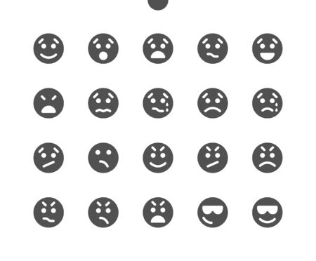 Emotions v3 UI Pixel Perfect Well-crafted Vector Solid Icons 48x48 Ready for 24x24 Grid for Web Graphics and Apps. Simple Minimal Pictogram  イラスト・ベクター素材