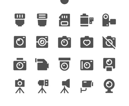 Camera UI Pixel Perfect Well-crafted Vector Solid Icons 48x48 Ready for 24x24 Grid for Web Graphics and Apps. Simple Minimal Pictogram