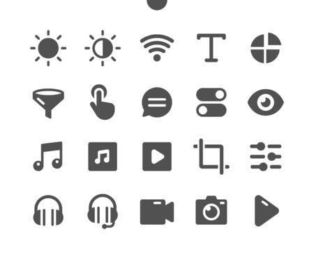 Settings v5 UI Pixel Perfect Well-crafted Vector Solid Icons 48x48 Ready for 24x24 Grid for Web Graphics and Apps. Simple Minimal Pictogram Vettoriali