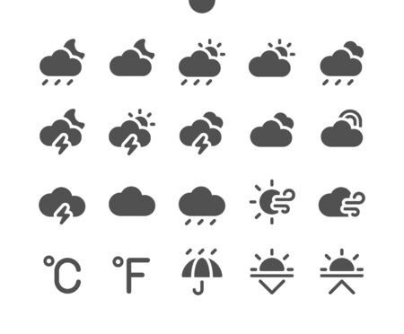 Weather v2 UI Pixel Perfect Well-crafted Vector Solid Icons 48x48 Ready for 24x24 Grid for Web Graphics and Apps. Simple Minimal Pictogram