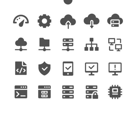 Hosting UI Pixel Perfect Well-crafted Vector Solid Icons 48x48 Ready for 24x24 Grid for Web Graphics and Apps. Simple Minimal Pictogram Иллюстрация