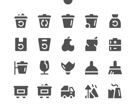 Garbage UI Pixel Perfect Well-crafted Vector Solid Icons 48x48 Ready for 24x24 Grid for Web Graphics and Apps. Simple Minimal Pictogram