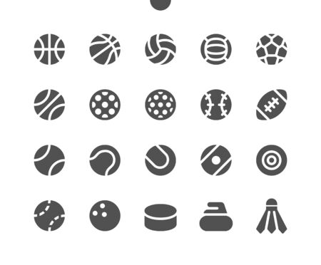 Sport Balls UI Pixel Perfect Well-crafted Vector Solid Icons 48x48 Ready for 24x24 Grid for Web Graphics and Apps. Simple Minimal Pictogram
