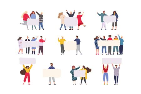 Happy group of friends standing together and holding blank banner. Flat cartoon colorful vector illustration. Vecteurs