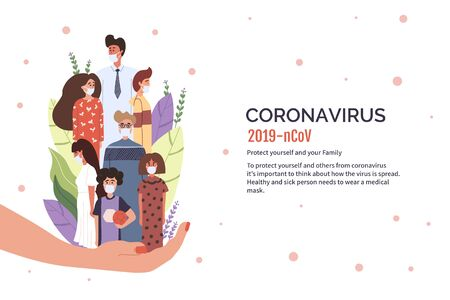 Group of people wearing protective medical mask for prevent virus Covid-19. Concept of coronavirus vector illustration.