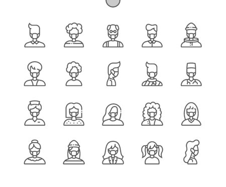 People with medical mask Well-crafted Pixel Perfect Vector Thin Line Icons 30 2x Grid for Web Graphics and Apps. Simple Minimal Pictogram Foto de archivo - 143102243