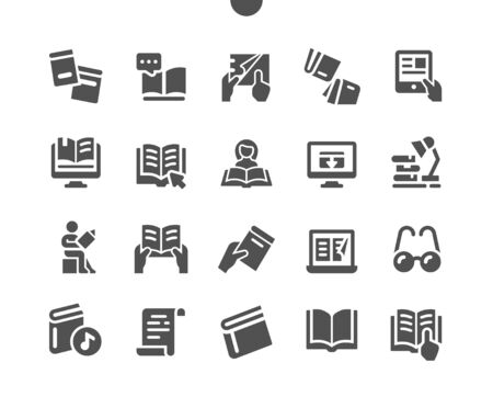 Reading Well-crafted Pixel Perfect Vector Solid Icons 30 2x Grid for Web Graphics and Apps. Simple Minimal Pictogram