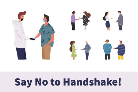 Young people do not handshake with each other. Not contact. Precautions and prevention of coronavirus disease. Warning, dangerous infection on hands. Flat cartoon colorful vector illustration.