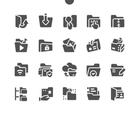 Folders Well-crafted Pixel Perfect Vector Solid Icons 30 2x Grid for Web Graphics and Apps. Simple Minimal Pictogram