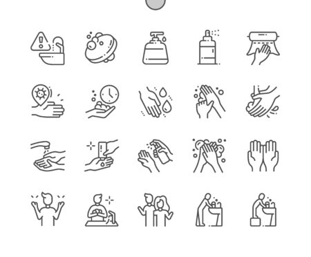 Hand hygiene 2 Well-crafted Pixel Perfect Vector Thin Line Icons 30 2x Grid for Web Graphics and Apps. Simple Minimal Pictogram