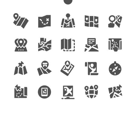 Maps Well-crafted Pixel Perfect Vector Solid Icons 30 2x Grid for Web Graphics and Apps. Simple Minimal Pictogram