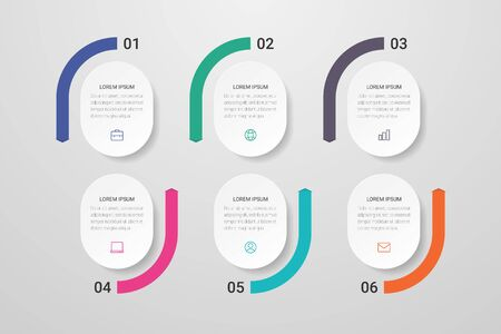 Infographic design with icons and 6 options or steps. Can be used for presentations, flow charts, web sites, banners, printed materials. Vector illustration. Ilustração Vetorial