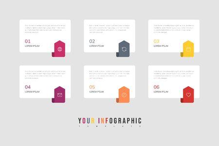 Le vecteur de conception d'infographie et les icônes marketing peuvent être utilisés pour la mise en page du flux de travail, le diagramme, le rapport annuel, la conception Web. Concept d'entreprise avec 6 options, étapes ou processus.