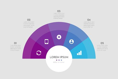 Abstract modern template for creating infographics with 5 options. Vector circle chart design. Can be used for workflow layout, presentations, reports, visualizations, diagram, web design, education.
