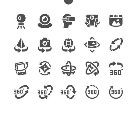 360 degrees Well-crafted Pixel Perfect Vector Solid Icons 30 2x Grid for Web Graphics and Apps. Simple Minimal Pictogram