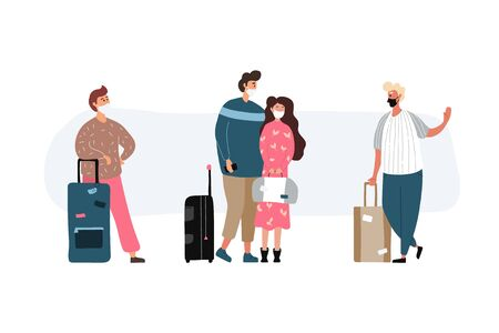 Group of travel people with medical masks. Men and women wearing protection from virus. Young tourists travelling with backpacks and bags, suitcases. Vector illustration in a flat style. Vectores