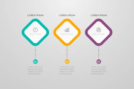 Business Infographic Template with 3 steps or processes elements. Can be used for annual report, flow charts, diagram, presentations, web sites. Vector illustration.