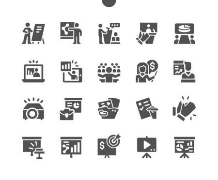 Business Presentation Well-crafted Pixel Perfect Vector Solid Icons 30 2x Grid for Web Graphics and Apps. Simple Minimal Pictogram  イラスト・ベクター素材