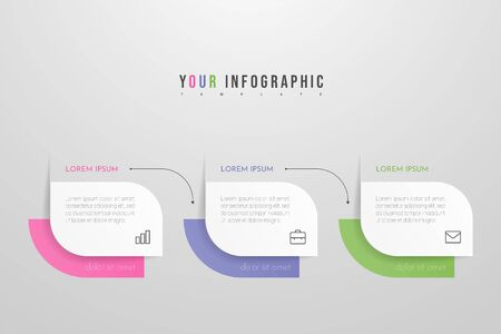 Modern vector infographic with 3 steps or processes elements. Business concept timeline