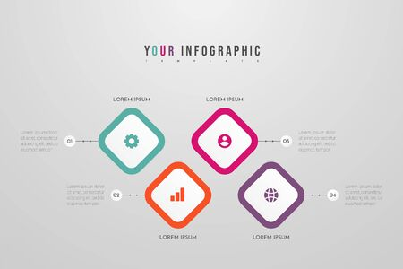 Business Infographic Template with 4 steps or processes elements. Can be used for annual report, flow charts, diagram, presentations, web sites. Vector illustration. Vectores