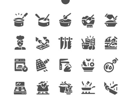 Cooking Well-crafted Pixel Perfect Vector Solid Icons 30 2x Grid for Web Graphics and Apps. Simple Minimal Pictogram Vectores