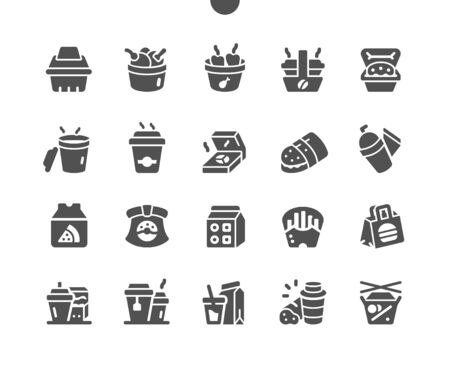 Takeaway Well-crafted Pixel Perfect Vector Solid Icons 30 2x Grid for Web Graphics and Apps. Simple Minimal Pictogram Vectores