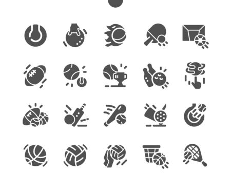 Sport Balls Well-crafted Pixel Perfect Vector Solid Icons 30 2x Grid for Web Graphics and Apps. Simple Minimal Pictogram Vectores