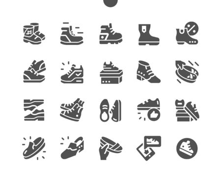 Men's footwear Well-crafted Pixel Perfect Vector Solid Icons 30 2x Grid for Web Graphics and Apps. Simple Minimal Pictogram Vectores