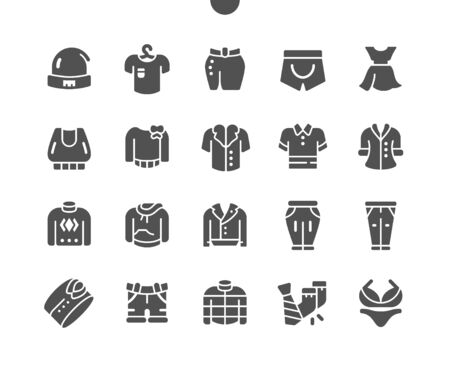 Clothes Well-crafted Pixel Perfect Vector Solid Icons 30 2x Grid for Web Graphics and Apps. Simple Minimal Pictogram Vectores
